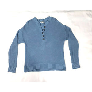 AMERICAN EAGLE BLUE KNIT HENLEY SWEATER SIZE SMALL